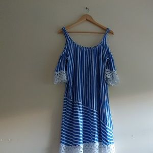 Blue Striped Dress Knee-Length